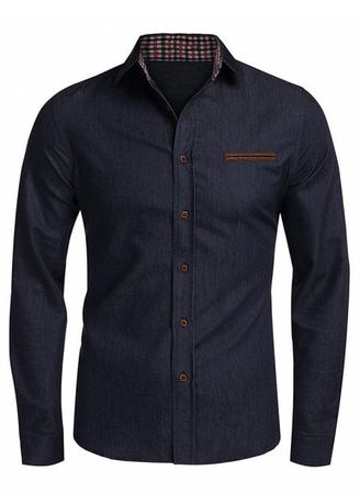 Black color Casual Shirts . Plaid Edge Button Up Casual Long Sleeve Shirt -