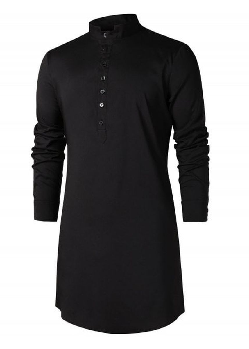 Black color Casual Shirts . Stand Collar Half Button Longline Shirt -