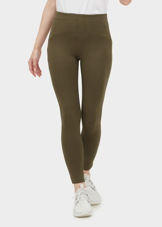 Olive color Leggings . High-waisted Legging -
