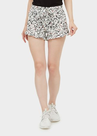 White color Shorts . Ladies Frill Short Butterfly -