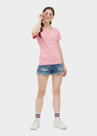 Pink color Tees & Shirts . Basic U Neck Tee -