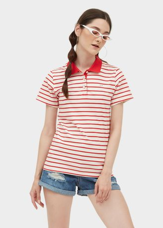 Red color Tees & Shirts . Polo Tee - Stripe -