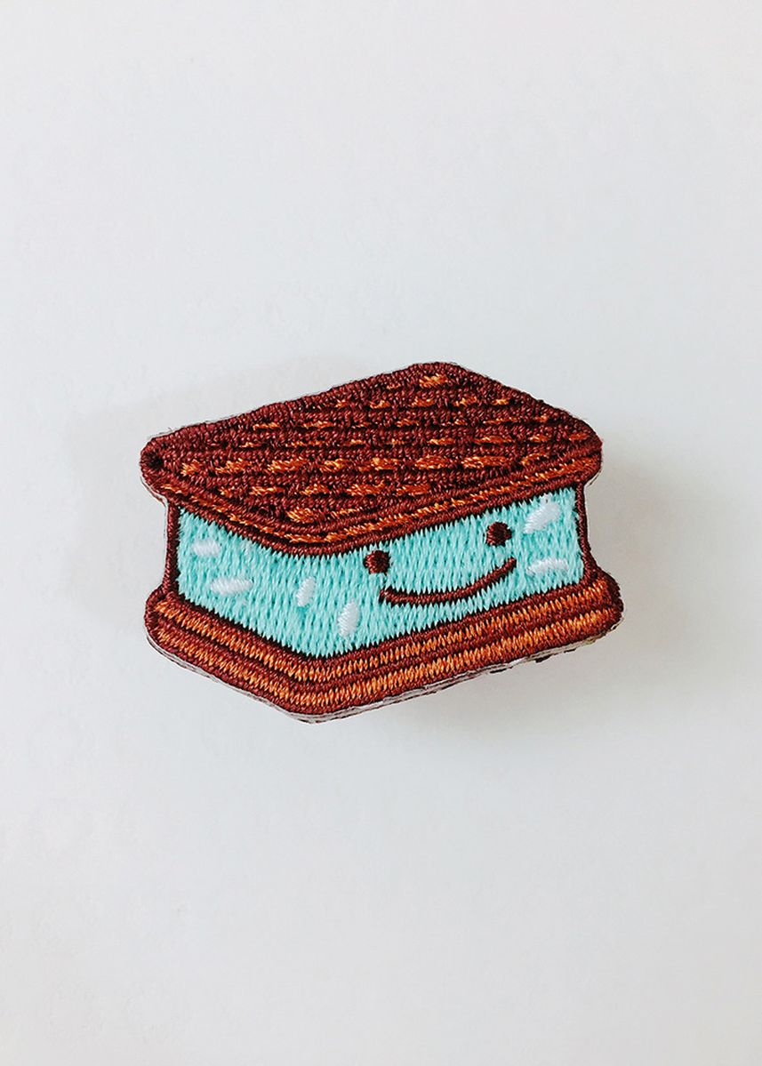 Cyan color Other . Wackymons Ice Cream Sandwich Embroidery Pin -