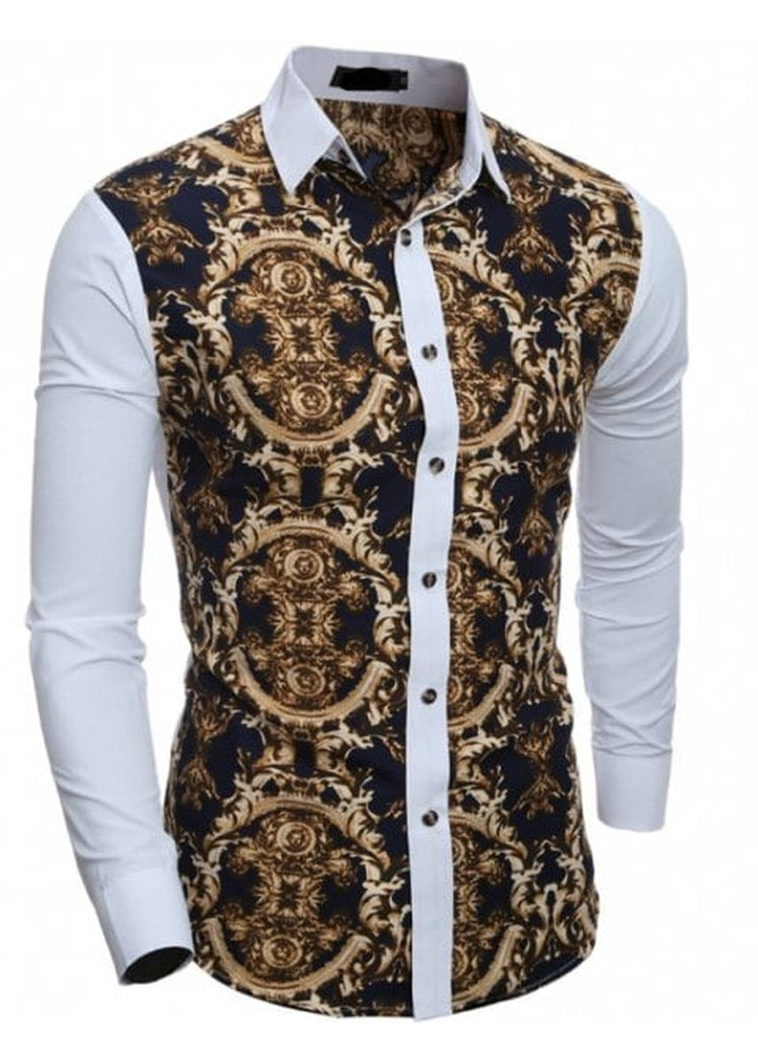 White color Casual Shirts . Men's Casual Slim Long-Sleeved Printed Shirt -