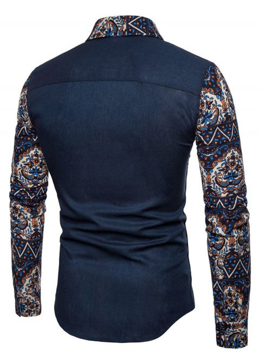 Blue color Casual Shirts . Pocket Floral Blue Fabric Spliced Long Sleeve Shirt -