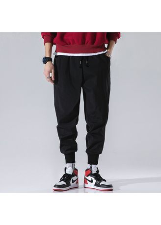 Black color Casual Trousers and Chinos . New Arrival Strechy Lose Casual Ankle Length Mens -