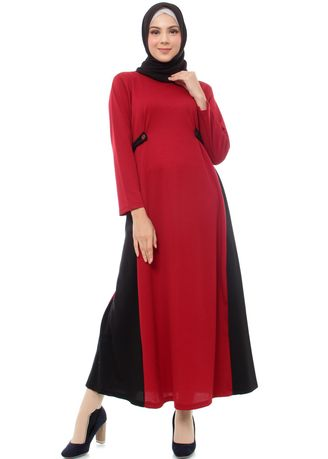 Maroon color Terusan/Dress . Mybamus Alessa Side Rope Dress Maroon M14846 R15S6 -