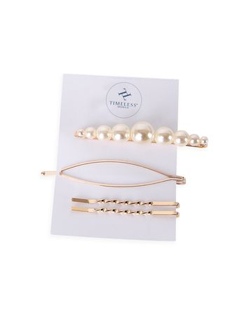 White color Hair Accessories . Timeless Manila Kendal Oval-Shaped Pearl Hair Pin -