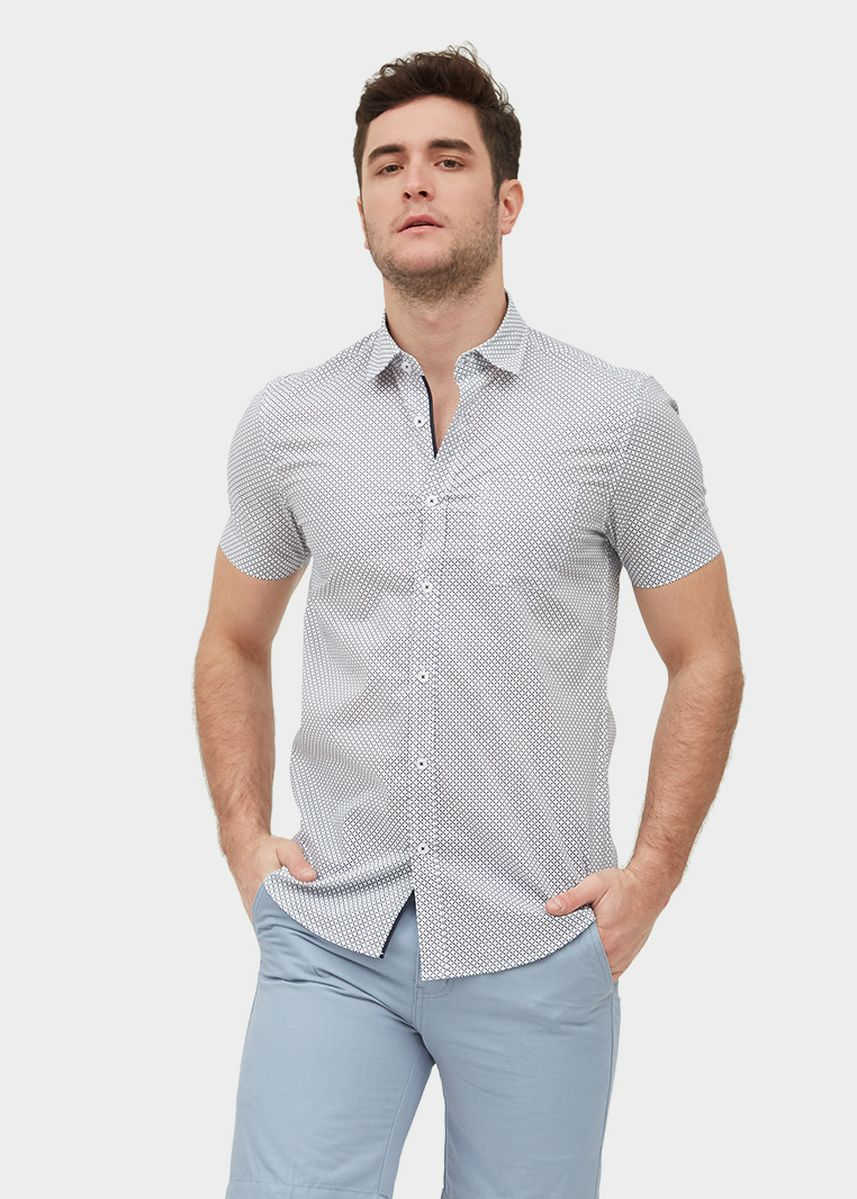 White color Casual Shirts . S/S Slim Fit Pocket Shirt With Motif Print -
