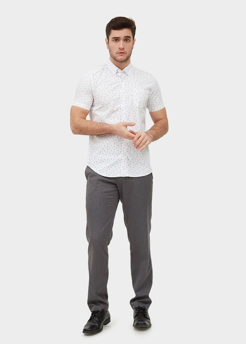 White color Casual Shirts . S/S Slim Fit Shirt With Snowflake Print -