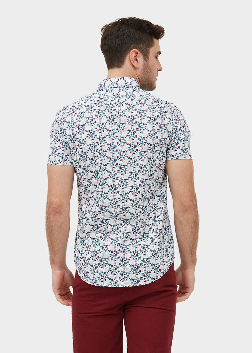 White color Casual Shirts . S/S Slim Fit Shirt With Flower Print -