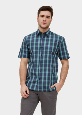 Green color Casual Shirts . S/S Regular Fit Check Shirt -