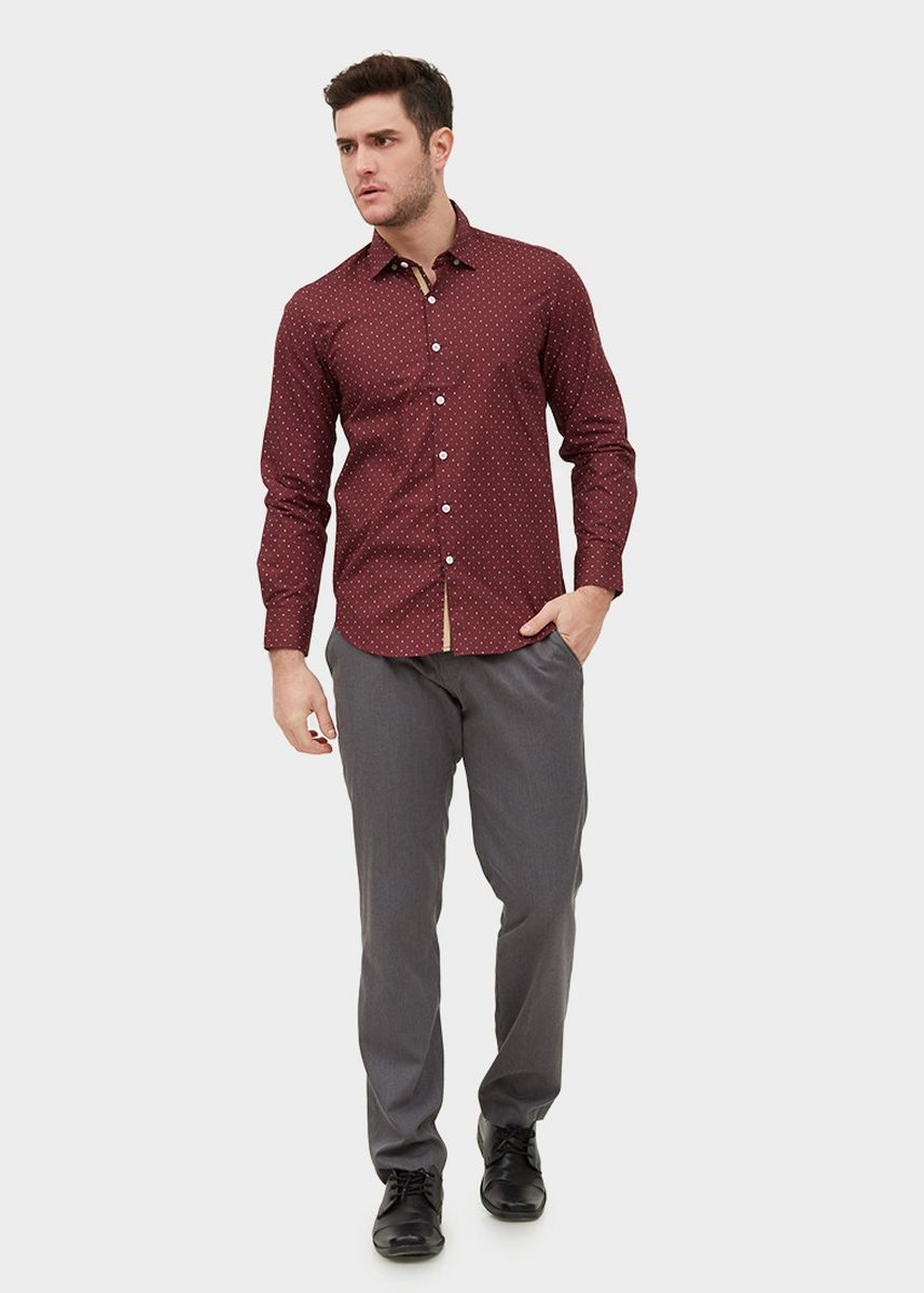 Maroon color Casual Shirts . L/S Slim Fit Printed Shirt -