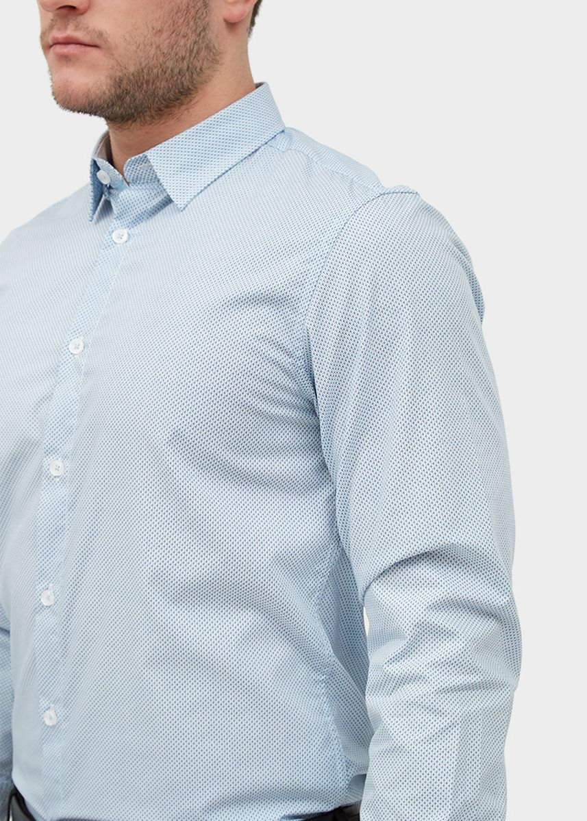 Light Blue color Casual Shirts . L/S Slim Fit Dot Print Shirt -