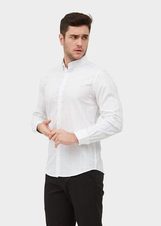White color Casual Shirts . L/S Slim Fit Burberry Print Shirt -