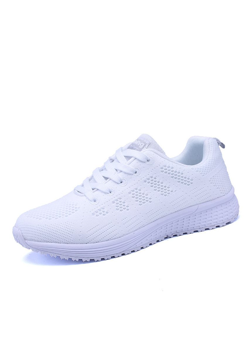 ขาว color รองเท้ากีฬา . Sneakers Women's Mesh Breathable Shoes Trend Ladies Fly Woven Casual -