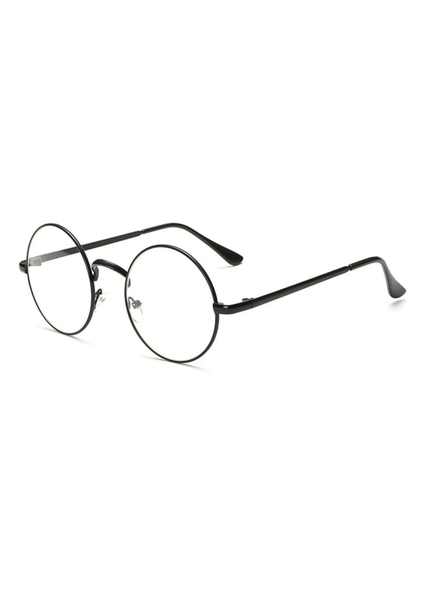 ดำ color กรอบ . Vintage Metal Frame Round Circle Lens Eyeglasses Plain Mirror College Wind -