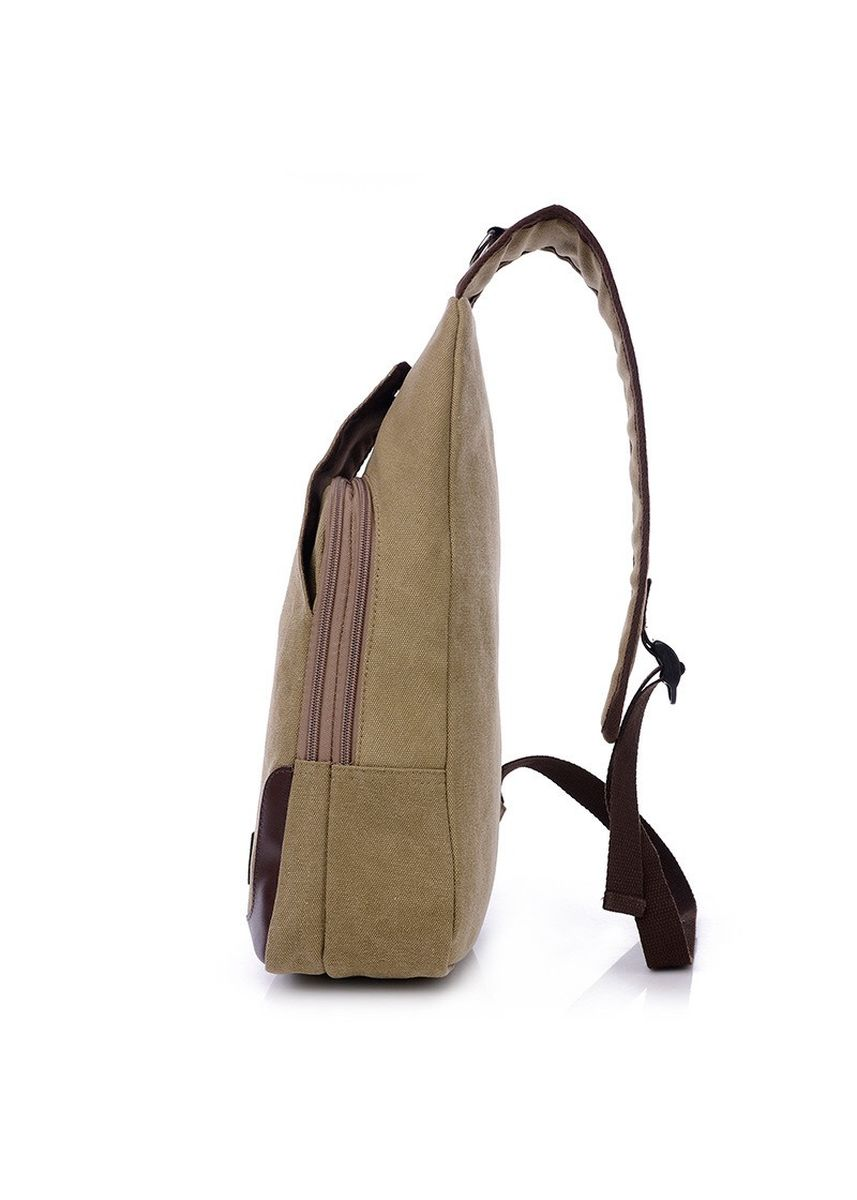 สีกากี color กระเป๋าเมสเซนเจอร์ . Fashion Men Bags Canvas Chest Diagonal Package Messenger Shoulder Bag -