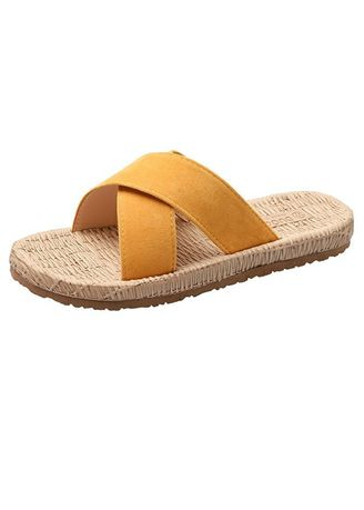 Yellow color Sandals and Slippers . Flat Bottom Solid Color Toe Women's Sandal  -