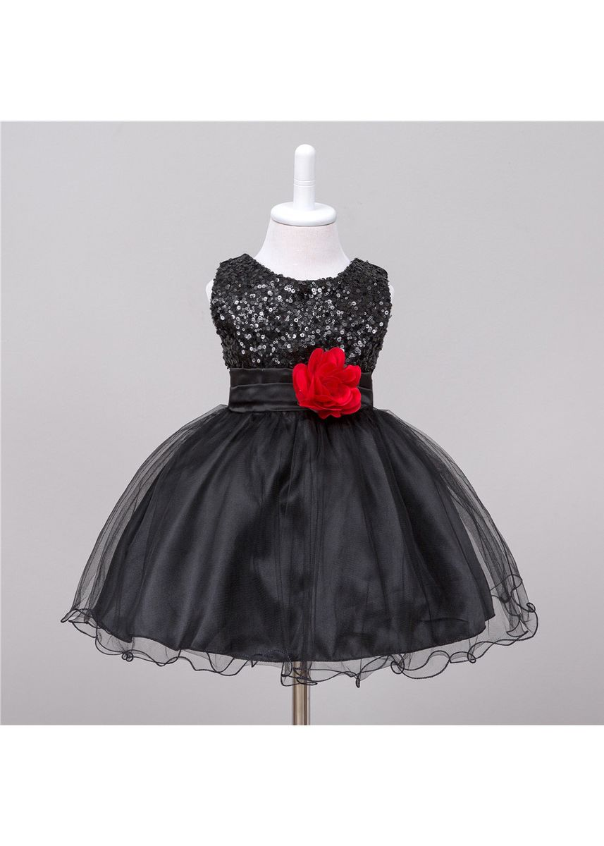 ดำ color เดรส . Children's Skirt Girls Dress Children Princess Pettiskirt Baby Party -