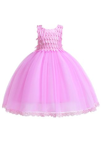 ชมพู color เดรส . Girls Dress Mesh Tutu Child Princess Children -