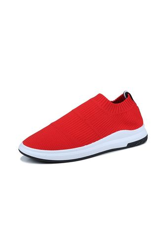 Red color Casual Shoes . Men's Net Breathable Slip On Sport Shoes  -