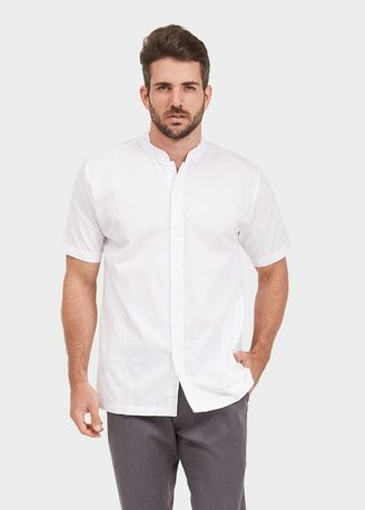 White color Casual Shirts . NEXT GEN Short Sleeve Henley Solid Shirt 6006 -
