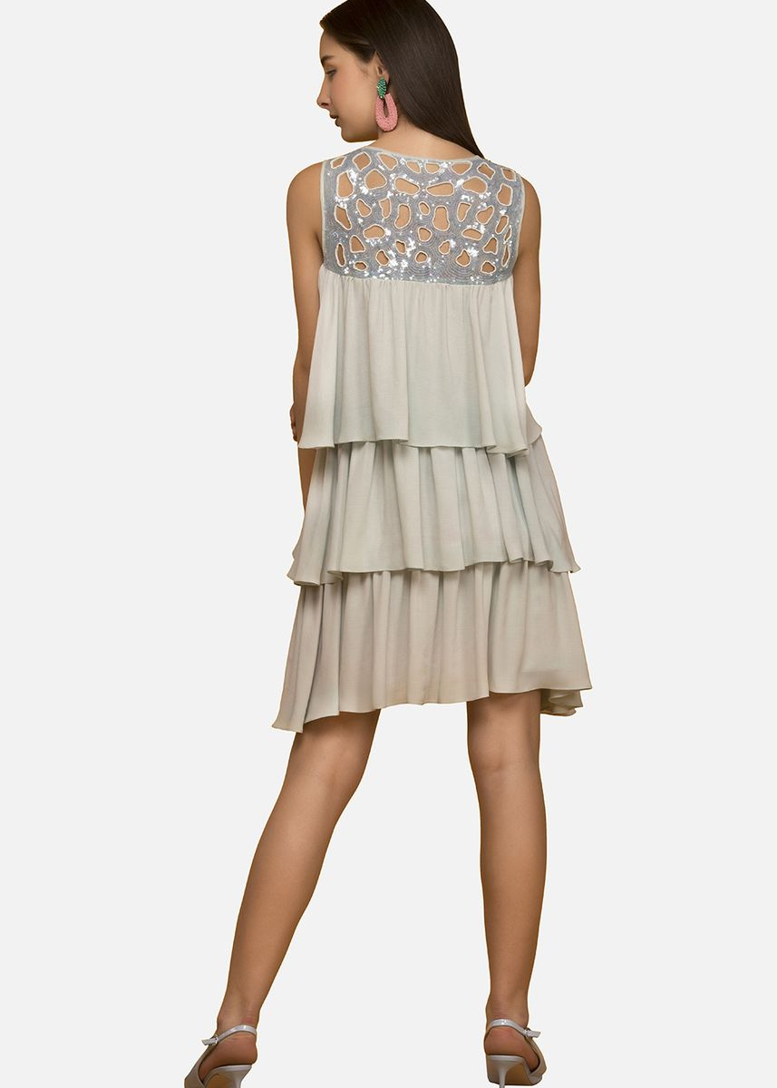Light Grey color Dresses . Coral Tiered Dress with Hand Embroidered Sequined Yoke -