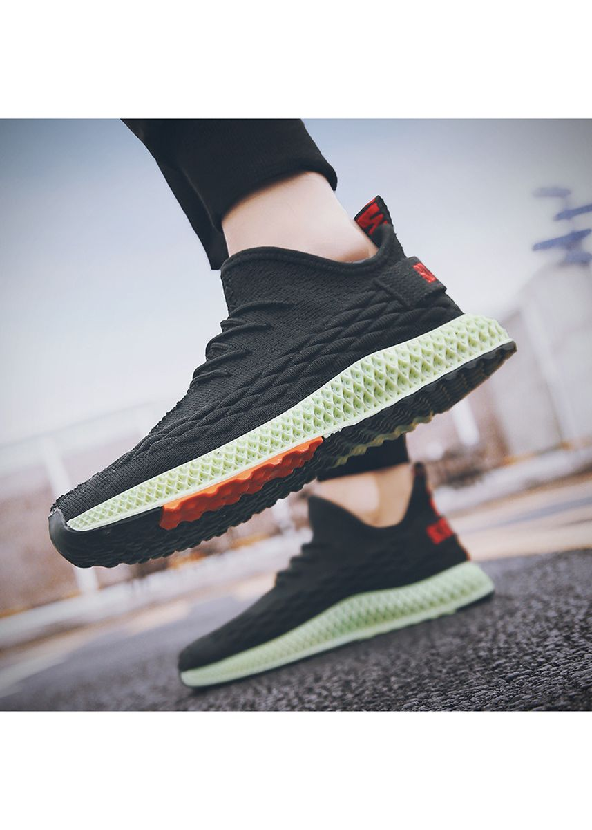 Black color Sports Shoes . Men's Flying Woven Shoes Mesh Casual Sports Tide Comfortable Running -