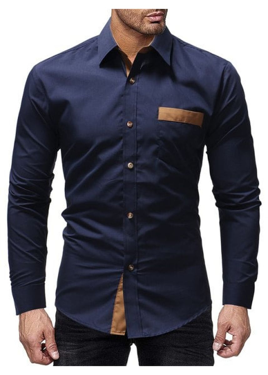 Blue color Casual Shirts . Posted Pocket Spell Color Men's Casual Long-sleeved Shirt Slim -