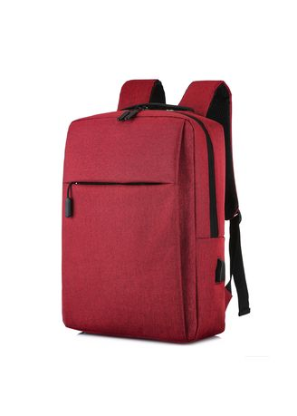Red color Backpacks . Men's Business Multi-function Computer Bag Usb Simple Backpack -