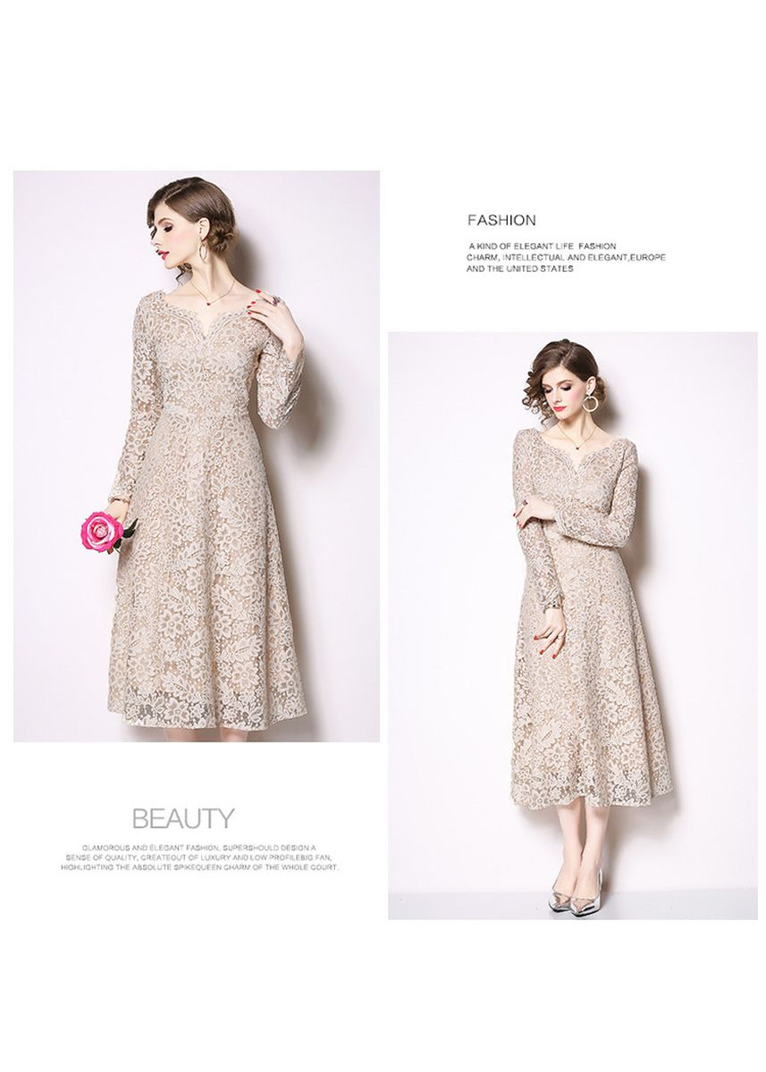 Beige color Dresses . European station new sexy V-neck waist A-line skirt -