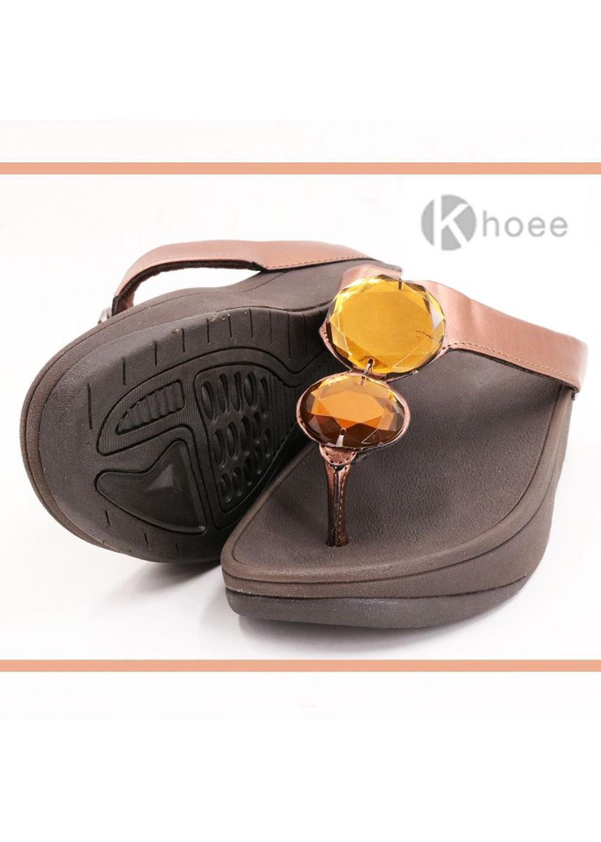 Brown color Sandals and Slippers . Khoee Emily Women's Slip on Flipflops Sandals Women's Sandals -