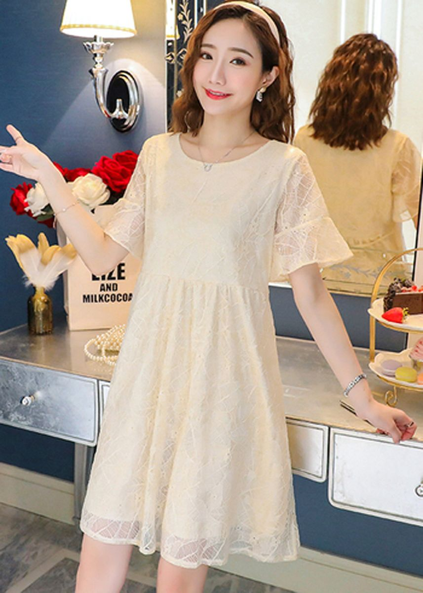 Beige color Maternity Wear . Korean Version Short Sleeve Chiffon Maternity Pregnancy Dress -