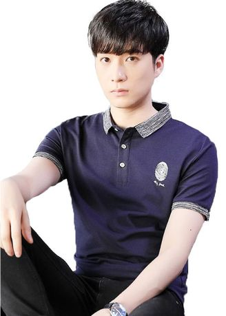 Navy color T-Shirts and Polos . เสื้อโปโล Finger print -