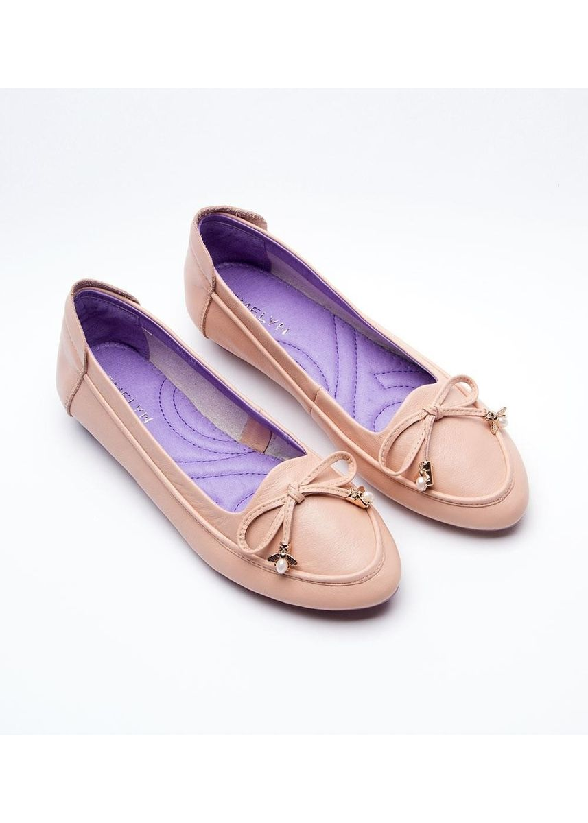 Pink color Flats . Melody Cowhide Leather Flat Shoes -