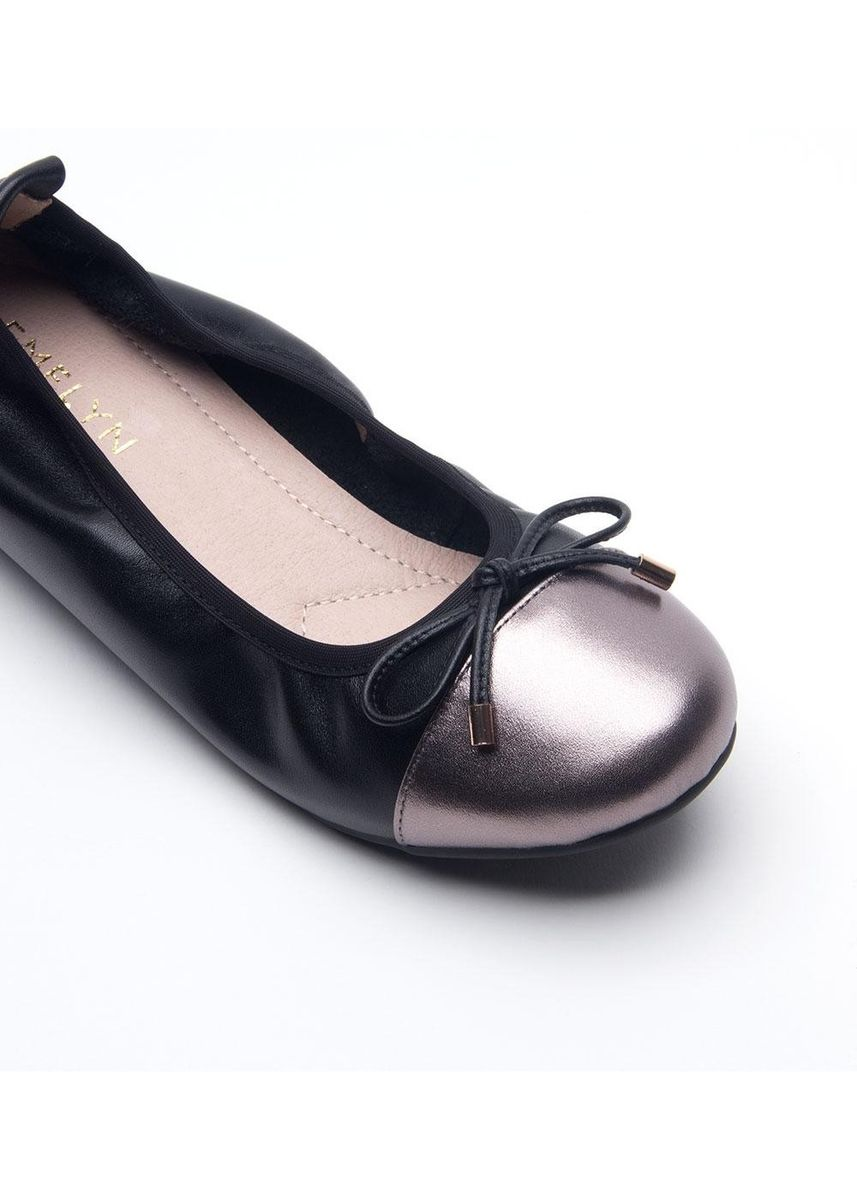 Black color Flats . Emma Extra Comfort Series Leather Flat Shoes -