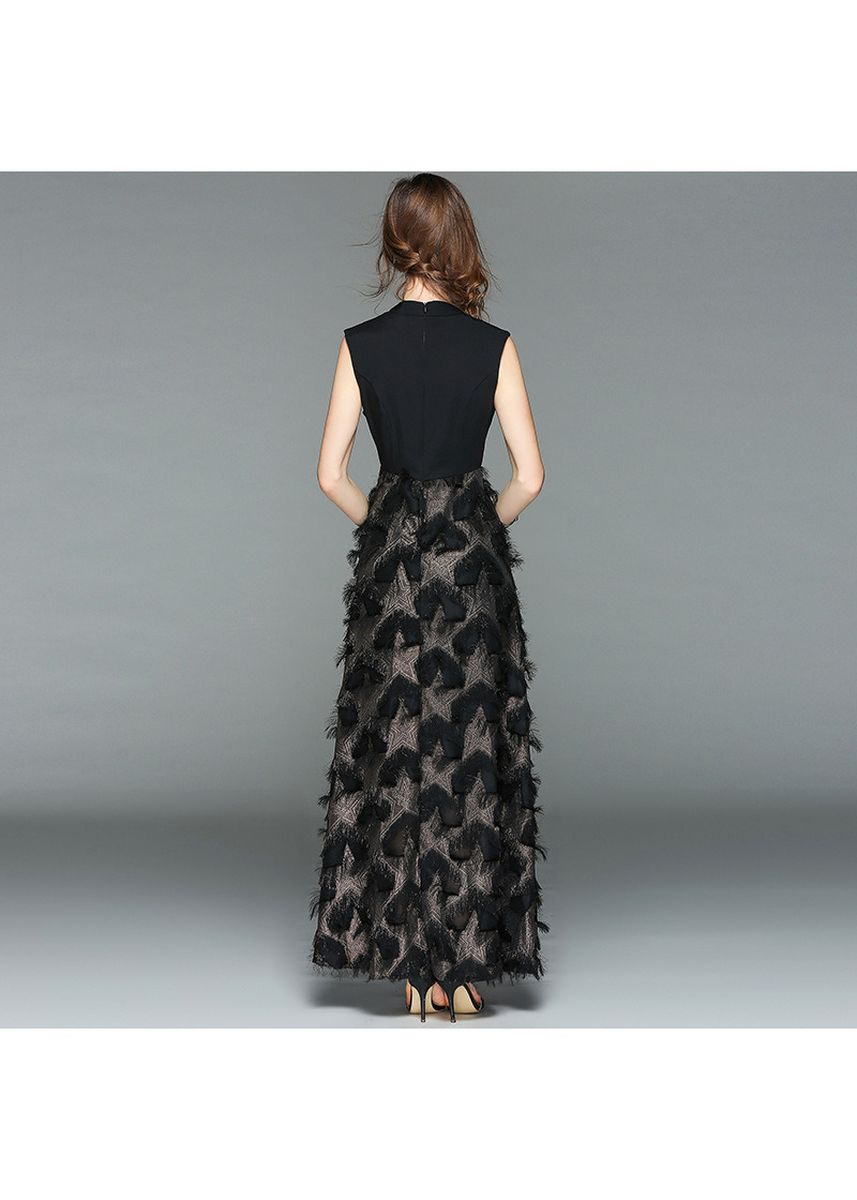 Black color Dresses . European station high-end women's stretch slim gilded feather dress -