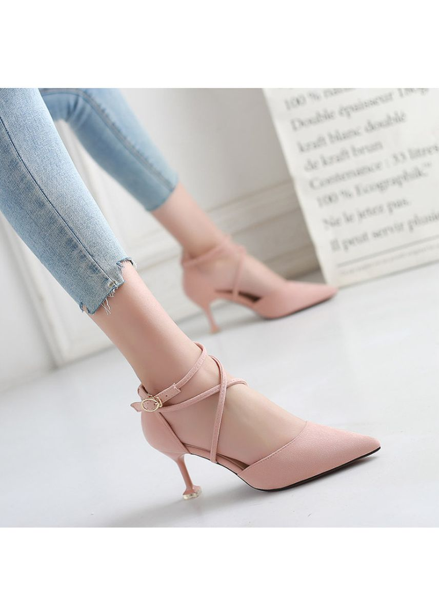 Pink color Heels . Fashion solid color low to help women's shoes -