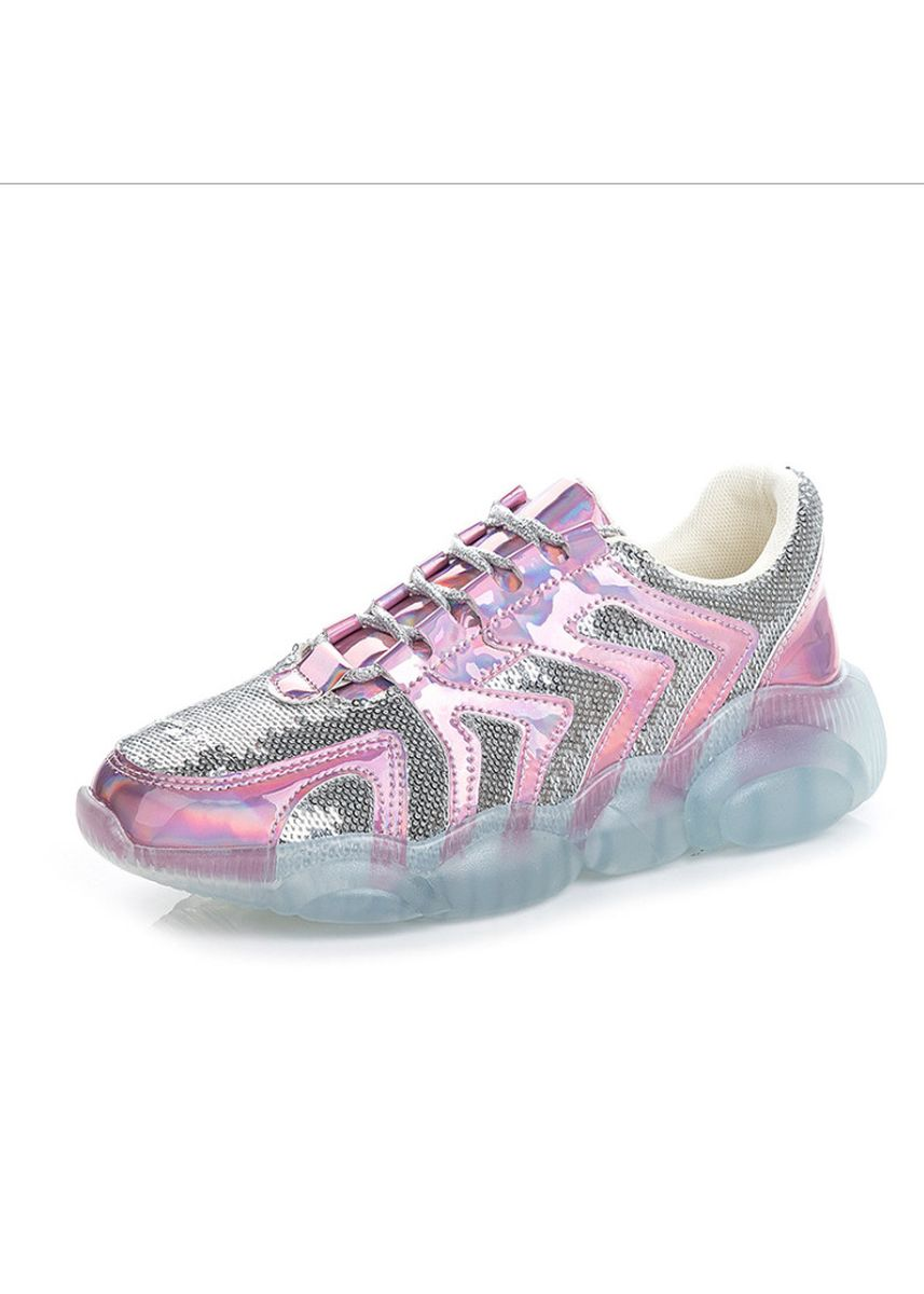 Pink color Casual Shoes . Platform Shoes With Transparent Bottom Crystal Shoes -