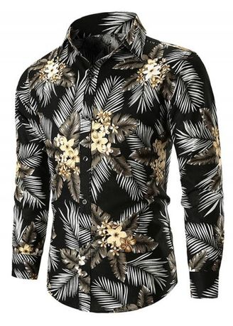Multi color Casual Shirts . Casual Flower and Leaves Print Shirt -