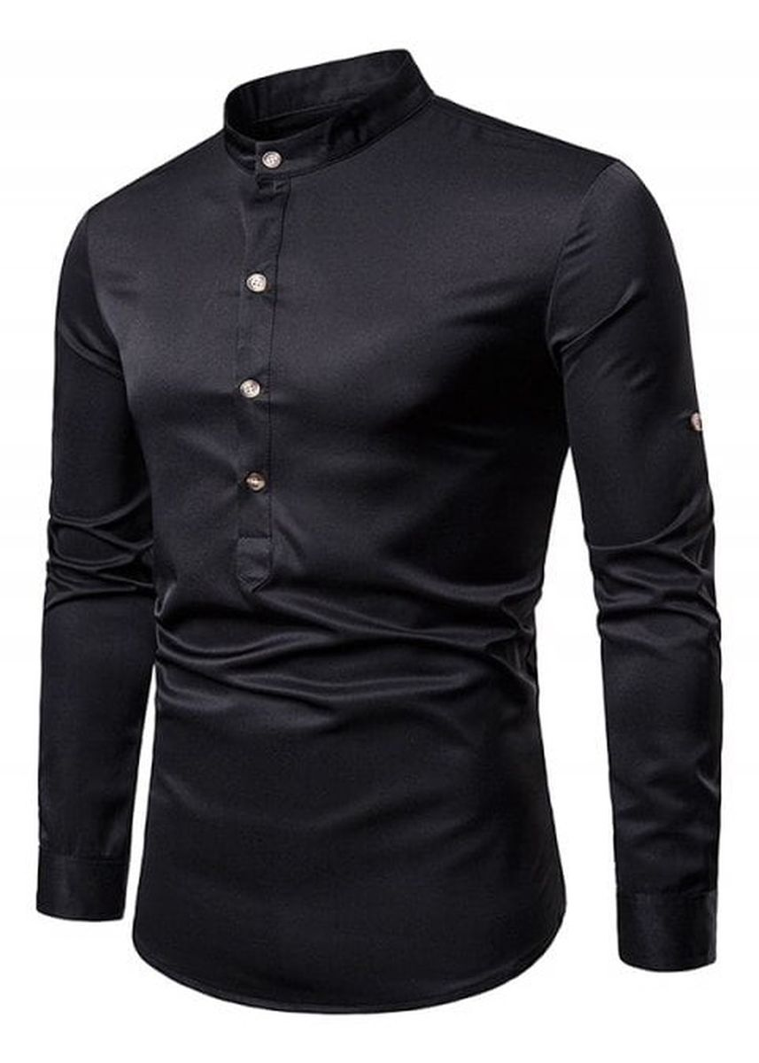 Black color Casual Shirts . Solid Roll Up Sleeve Design Half Button Loose Shirt -