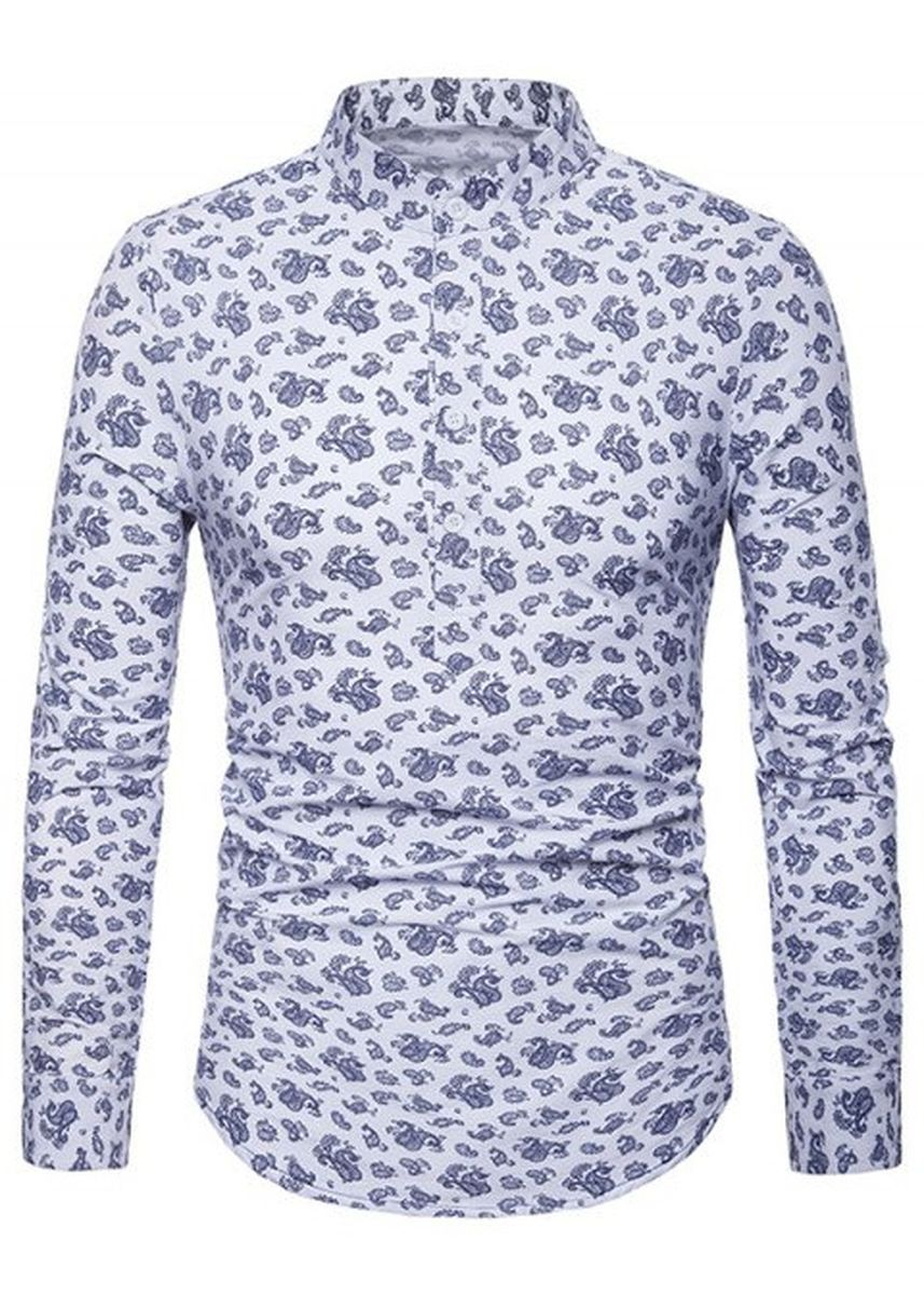 Multi color Casual Shirts . Paisley Print Roll Up Sleeve Design Half Button Shirt -