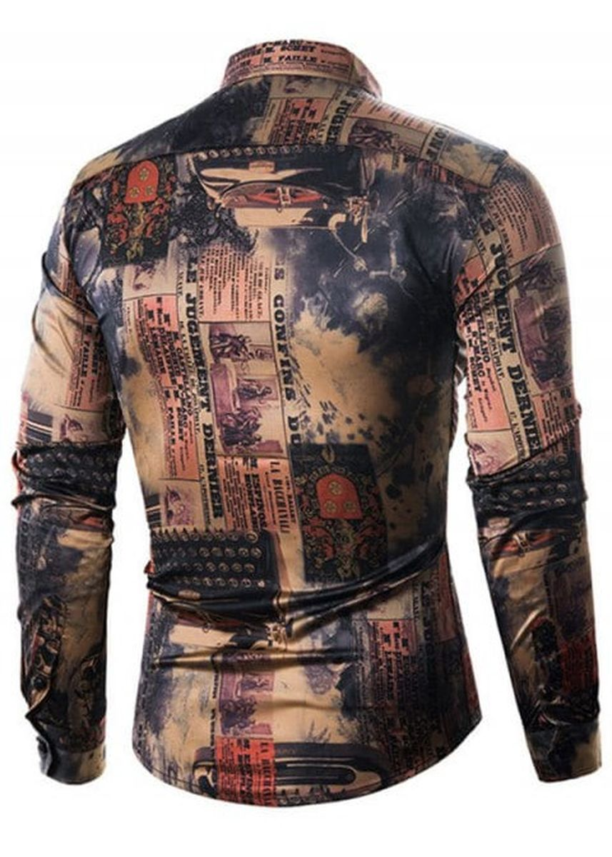 Black color Casual Shirts . Vintage Style Pictorial Print Button Up Shirt -