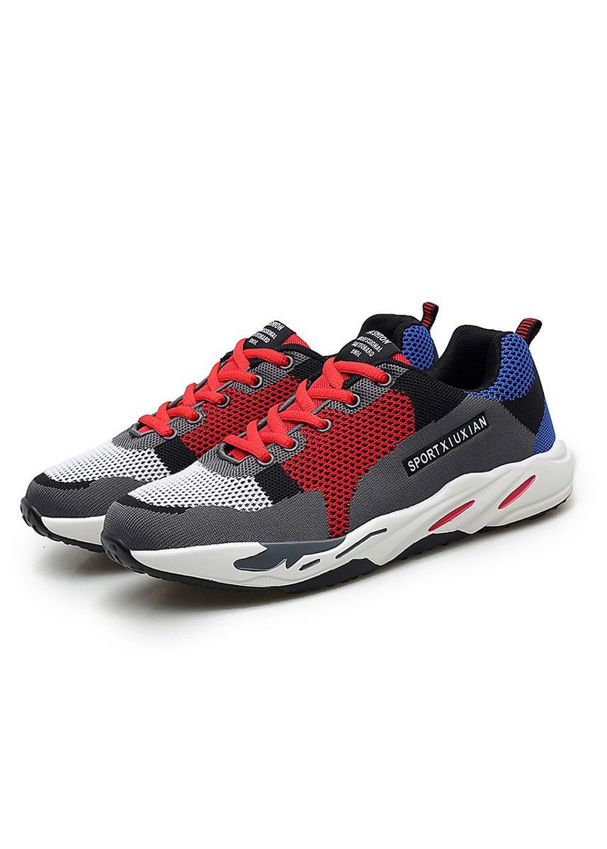 Red color Sports Shoes . Men's Sports Shoes Personality Lace Up Running Stylish Shoes Ventilation -