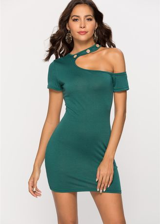 Green color Dresses . Suspended Sexy Slim  Dress -