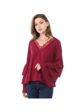 Red color Tops and Tunics . flared long-sleeved blouse for women -