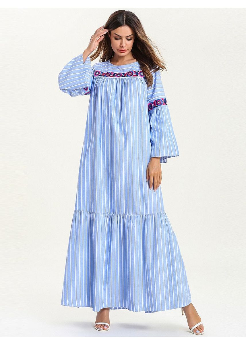 Blue color Plus Size Fashion . Women's Plus Size Fashion Sexy Stripe Dresses -