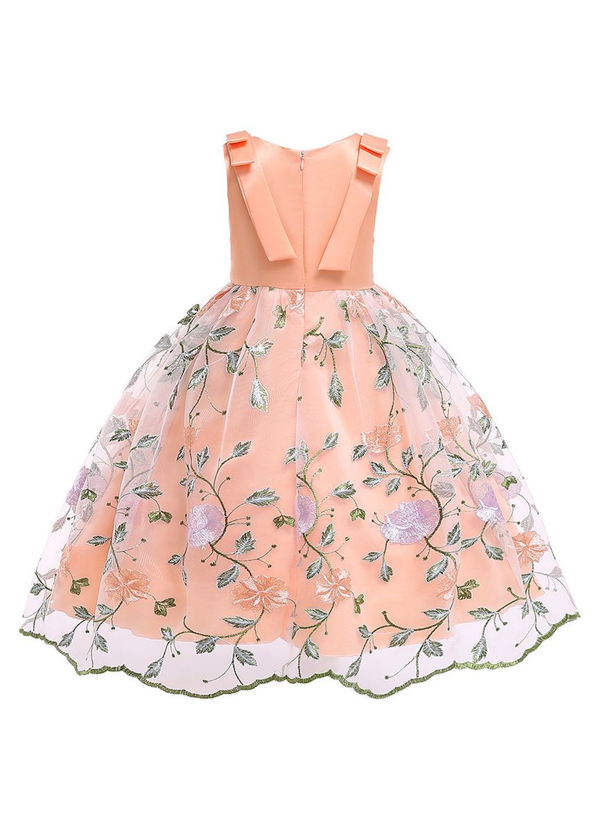 ส้ม color เดรส . Girls Dress Children's Clothing Skirt Christmas Kids -