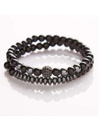 Black color Bracelets . J. By Jee Natural Onxy Stone Bead High Quality Crystal Black Ball Charms -